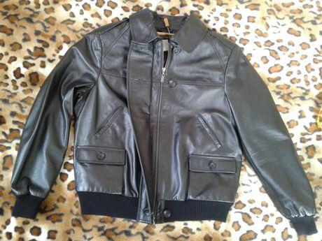 Кожаная натуральная мужская черная короткая куртка м