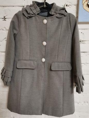 Пальто тёплое на девочку р. 128-134