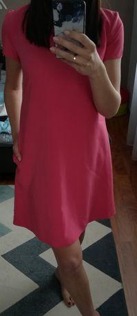 różowa sukienka asymetryczna