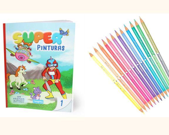 Livro para colorir + Caixa com 12 Lápis de Cor duplos