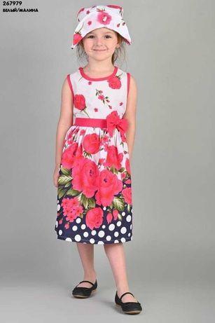 Стильне нарядне  хлопкове плаття в квіточках з панамкою якість шикарна