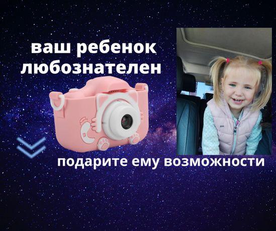 Детский цифровой фотоаппарат Children`s fun Selfie Розовый Котик New с