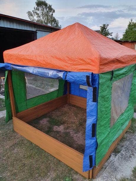Piaskownica drewniana z namiotem