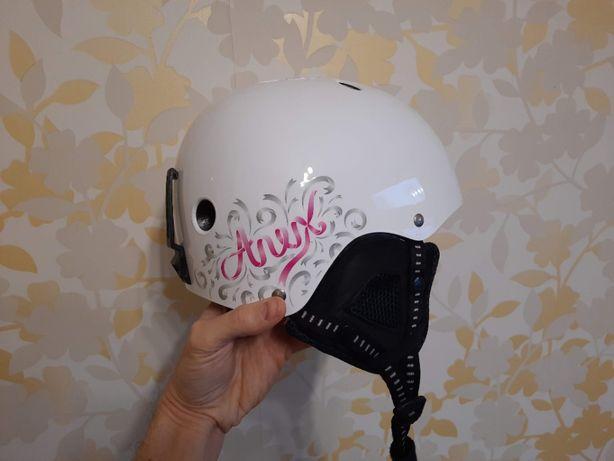 Шлем для сноуборда лыж. Женский подростковый детский белый S/M 54-58см