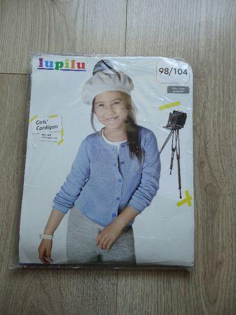 Nowy niebieski dziewczęcy sweterek Lupilu rozm 98/104