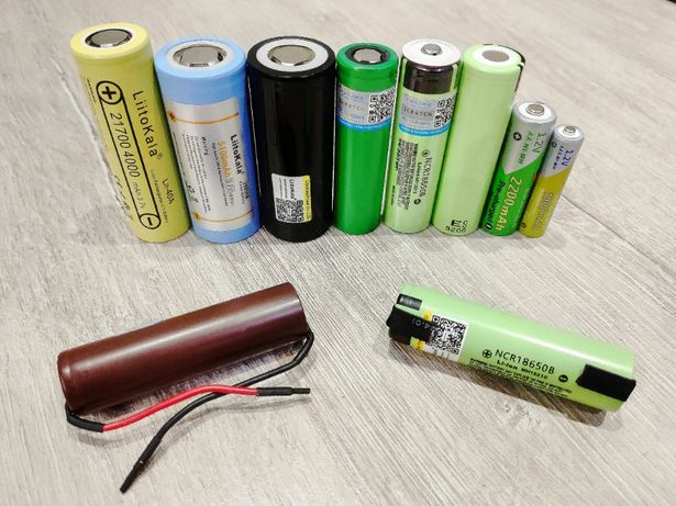 Высокотоковые, мощные Аккумуляторы Li-ion 18650 26650 21700 AA AAА