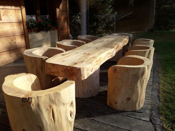 Meble ogrodowe fotele  z pnia altana taras