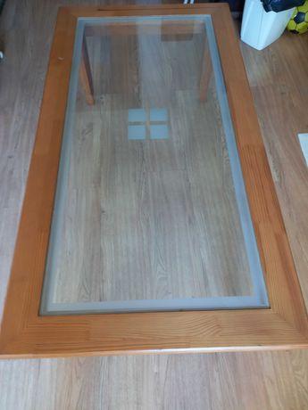 Mesa de Apoio Pinho Mel com vidro