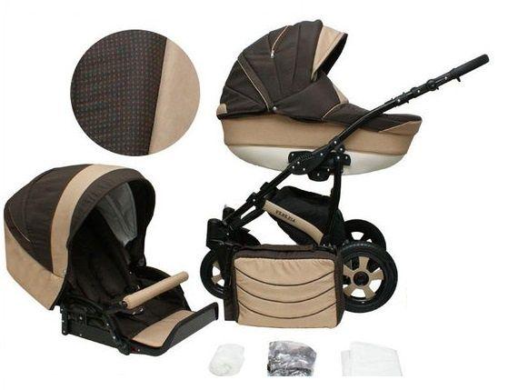 Детская коляска 2 в 1 Mikrus Venezia коричневая с бежевым как новая