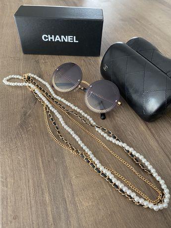 Chanel okulary przeciwsłoneczne perły łańcuszki pudełko