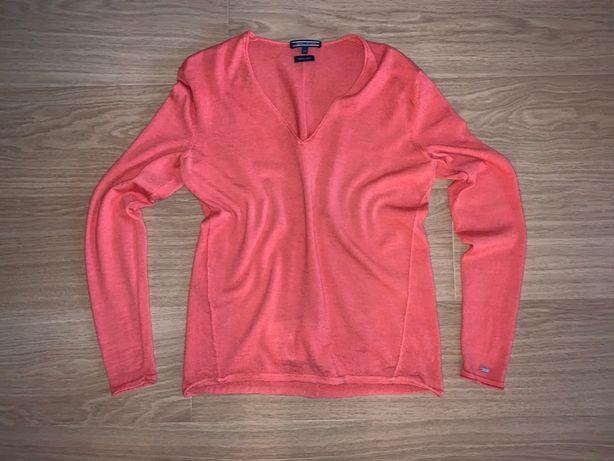 TOMMY HILFIGER Sweter cienki 100% wełna jak NOWY XS