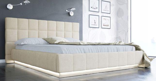Łóżko tapicerowane QUADRO LED 160 X 200 pojemnik na pościel + stelaż