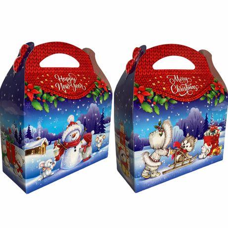 Подарункова коробка упаковка на цукерки Новий рік Миколая до 1,4кг
