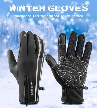 Теплые флисовые перчатки West Biking для велосипеда, лыж, мотоцикла