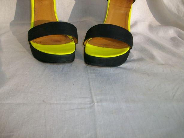 Wojas skórzane sandały sandałki platforma 40 koturn