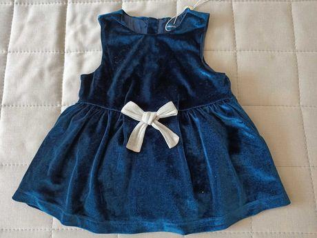 nowa, sliczna elegancka aksamitna sukieneczka r.80
