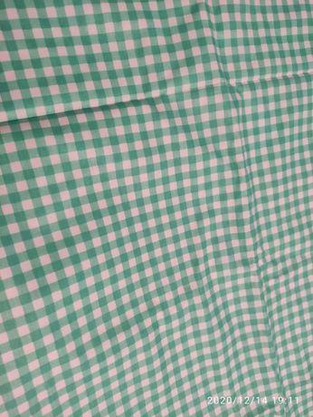 tkanina materiał płótno bawełna zielony biały kratka krata