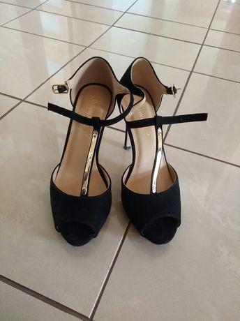 Buty na obcasie czarne r. 37, szpilki jenny fairy czarne