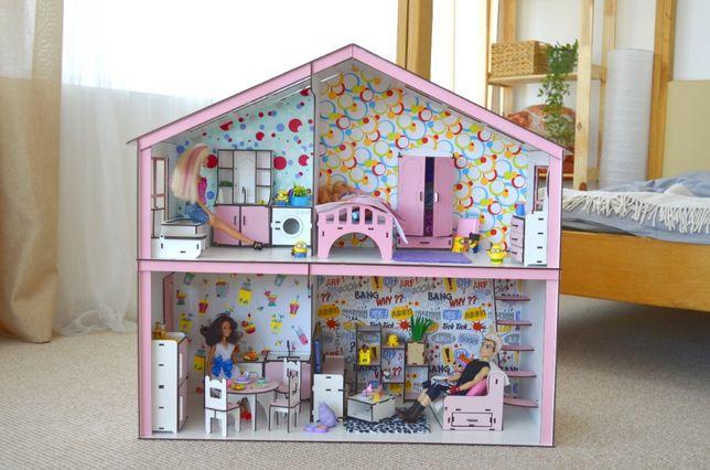 Волшебный Кукольный домик-конструктор Барби с мебелью