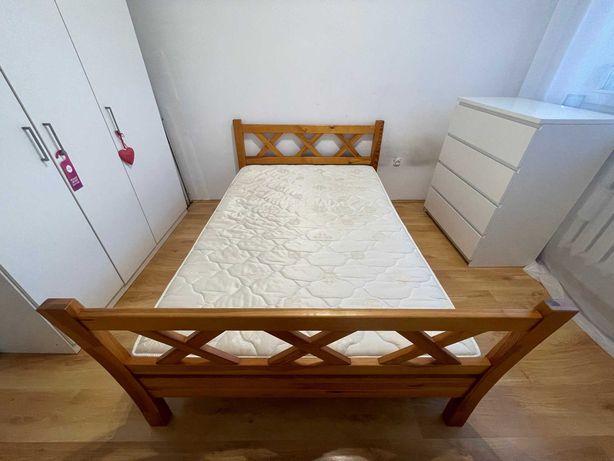 Łóżko Drewniane jedoosobowe + stelaż + materac 120x180