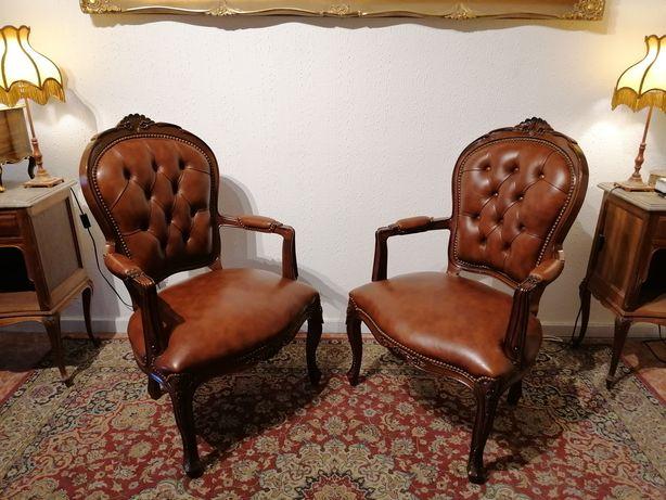 Par Bergères (Cadeirões Poltronas Cadeiras) Pele, Capitoné, Luís XV