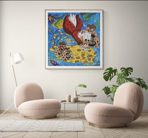 Поп арт картина Скрудж Макдак акрил на холсте/ на подарок