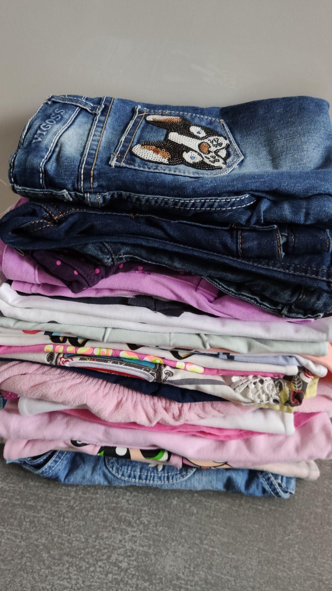 92 zestaw 27 szt paka ubrań dziewczynka jeansy bluza sukienka jak nowe
