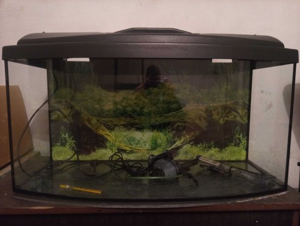 Akwarium 112 L zestaw grzałka filtr temometr tło
