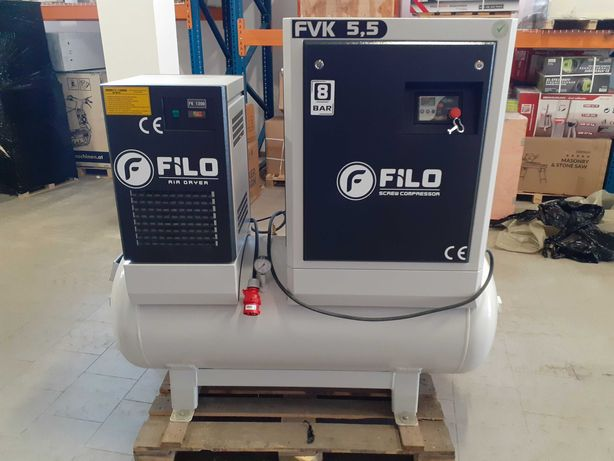 Kompresor śrubowy FILO FVK 5.5kW 8bar 300L z osuszaczem powietrza
