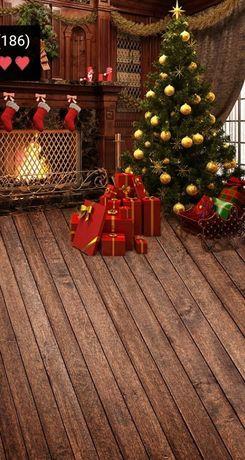 Piękne tło świąteczne ciepłe ciemne efektowne z kominkiem 200x300cm