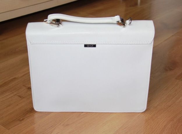 OCHNIK skórzana skora torebka aktówka biala laptop torba na laptopa