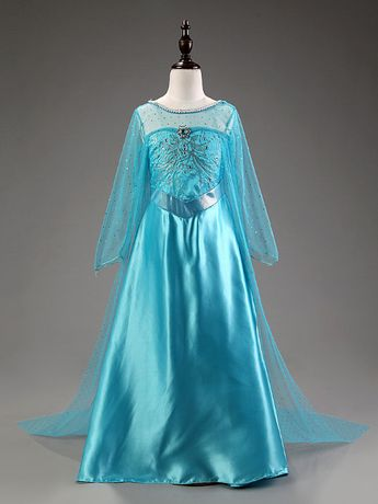 Strój Elsa sukienka długa KRAINA LODU bal karnawałowy 110cm z PL