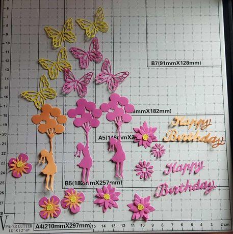 skrapki urodziny Happy Birthday motyl kwiatek balony