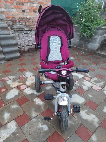 Велосипед детский трёхколёсный, коляска с ручкой и поворотным сидением