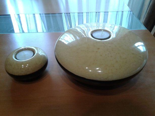 Castiçais cerâmica Amarelo/Preto