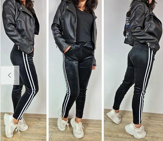 Spodnie welurowe damskie roz S/M L/XL czarne