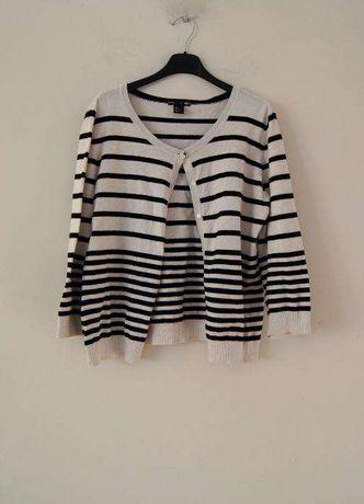 H&M czarno bialy bialo czarny sweter bolerko w pasy paski marine L 40