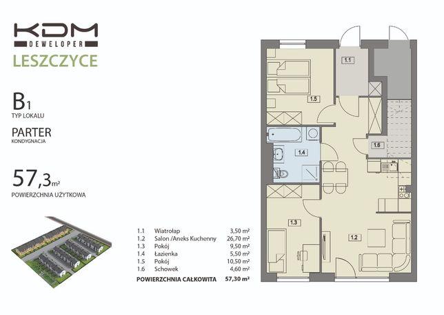 Osiedle Leszczyce mieszkanie 57 m z ogródkiem 2 miejsca postojowe