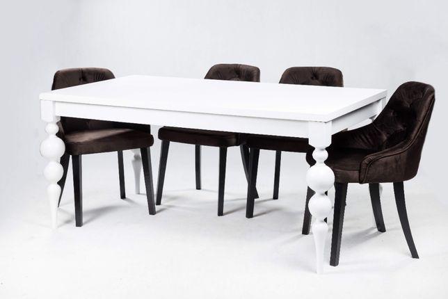 Stół Gordon 160.240x90cm+ 6 Krzeseł Chesterfield z kołatka