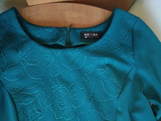 Sukienka zieleń morska butelkowa, r. 40/42 (L/XL) midi
