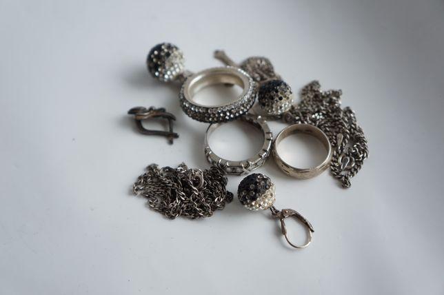 Серебро 925 пробы серебряное кольцо серьги кулон цепочка крестик