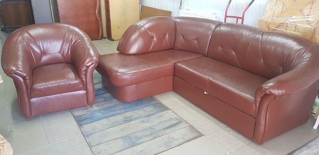 Narożnik skórzany jak nowy kanapa sofa rogówka skóra funkcja spania