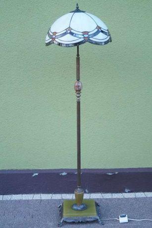 Podłogowa lampa witrażowy klosz Tiffany mosiężna noga