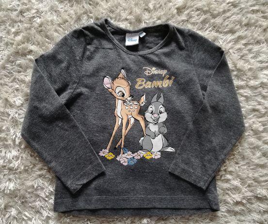 Śliczna, szara bluzka dla dziewczynki Bambi Disney, rozmiar 104, 3-4 l