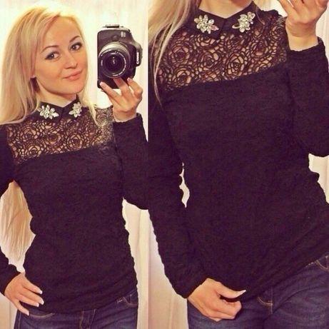 Блуза гипюр и кружево с камнями в черном цвете