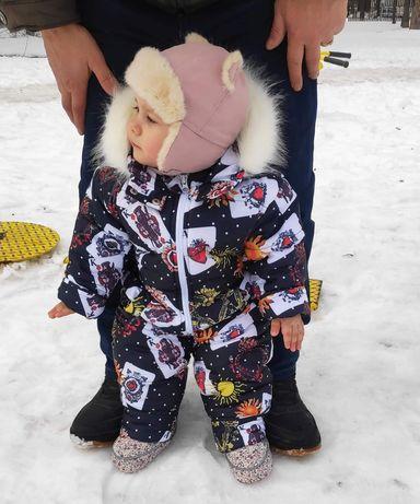 Зимний комбинезон для девочки на годик