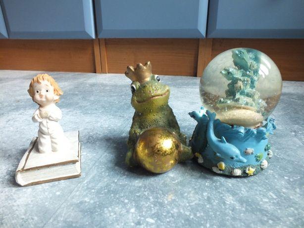 zestaw 3szt. ozdoba figurki ,kula szklana śnieżna delfin brokat