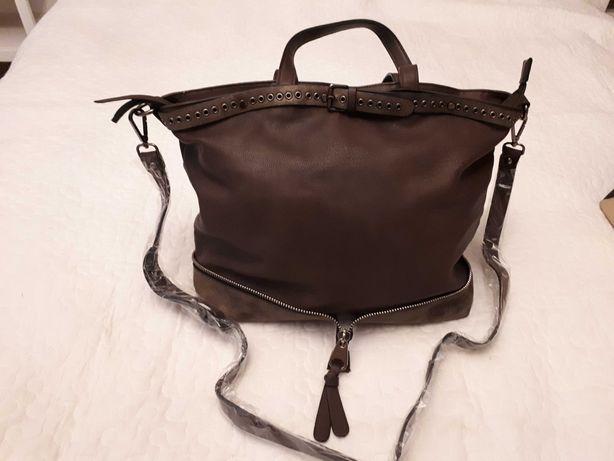 Pojemna brązowa torebka na zamek