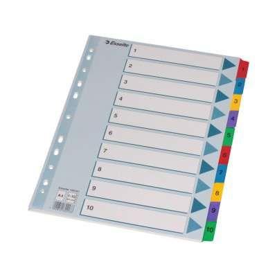 Przekładka A4 do segregatora kolorowa 1-10
