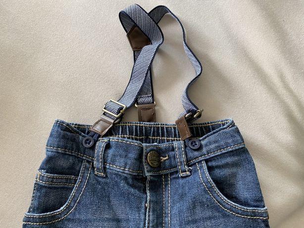 Spodenki jeansowe F&F na szelkach 6-9 miesięcy